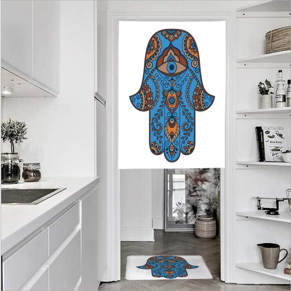Cortinas de 1 panel con textura de lino con estampado 3D y 1 felpudo de cocina, diseño antiguo, cultura étnica, símbolo tradicional, cortina de puerta de un solo panel 27.6 pulgadas de