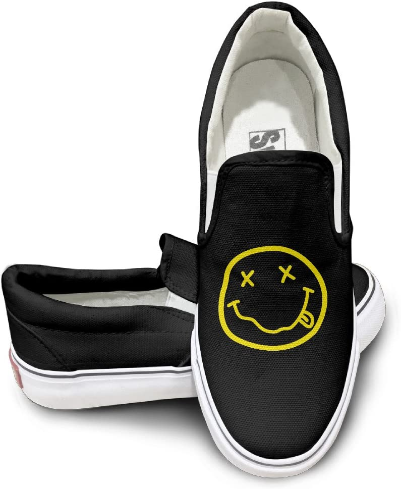 2 MGTER66 Nirvana Rock Band Logo Hot Dance Slip-On Casual Sneaker Unisex Style Color Black