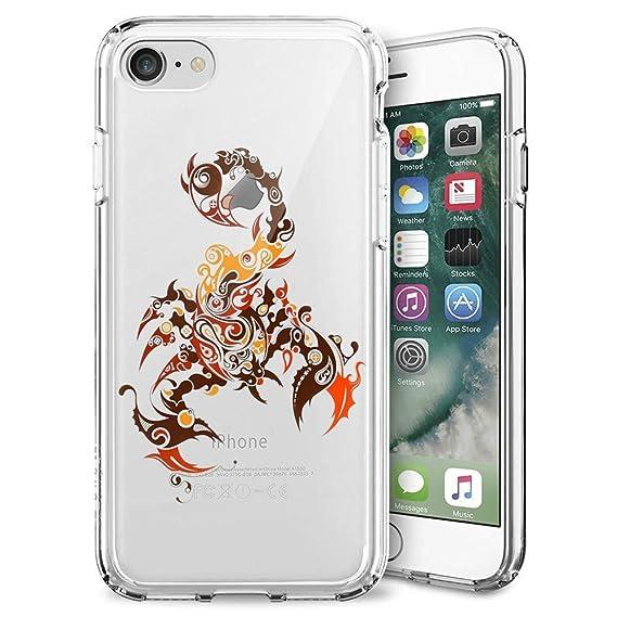 Amazon com: iPhone 7 8 Clear Case Scorpion Tattoo Art Soft