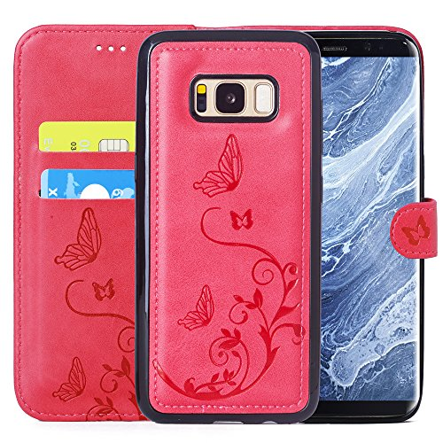 Pink Embossed Leather (Galaxy S7 Wallet Case with 2 in 1 Detachable Slim Case, Women's Vintage Embossed Floral Butterfly Pattern Leather Case - Hot Pink)