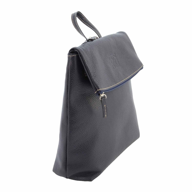 Ryggsäck med läderklaff BLÅ