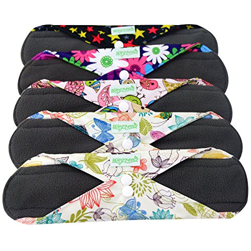 (Wegreeco Bamboo Reusable Sanitary Pads - Cloth Sanitary Pads | Bladder Support & Incontinence Pads | Reusable Menstrual Pads - Pack of 5 (Small, Mix Prints))