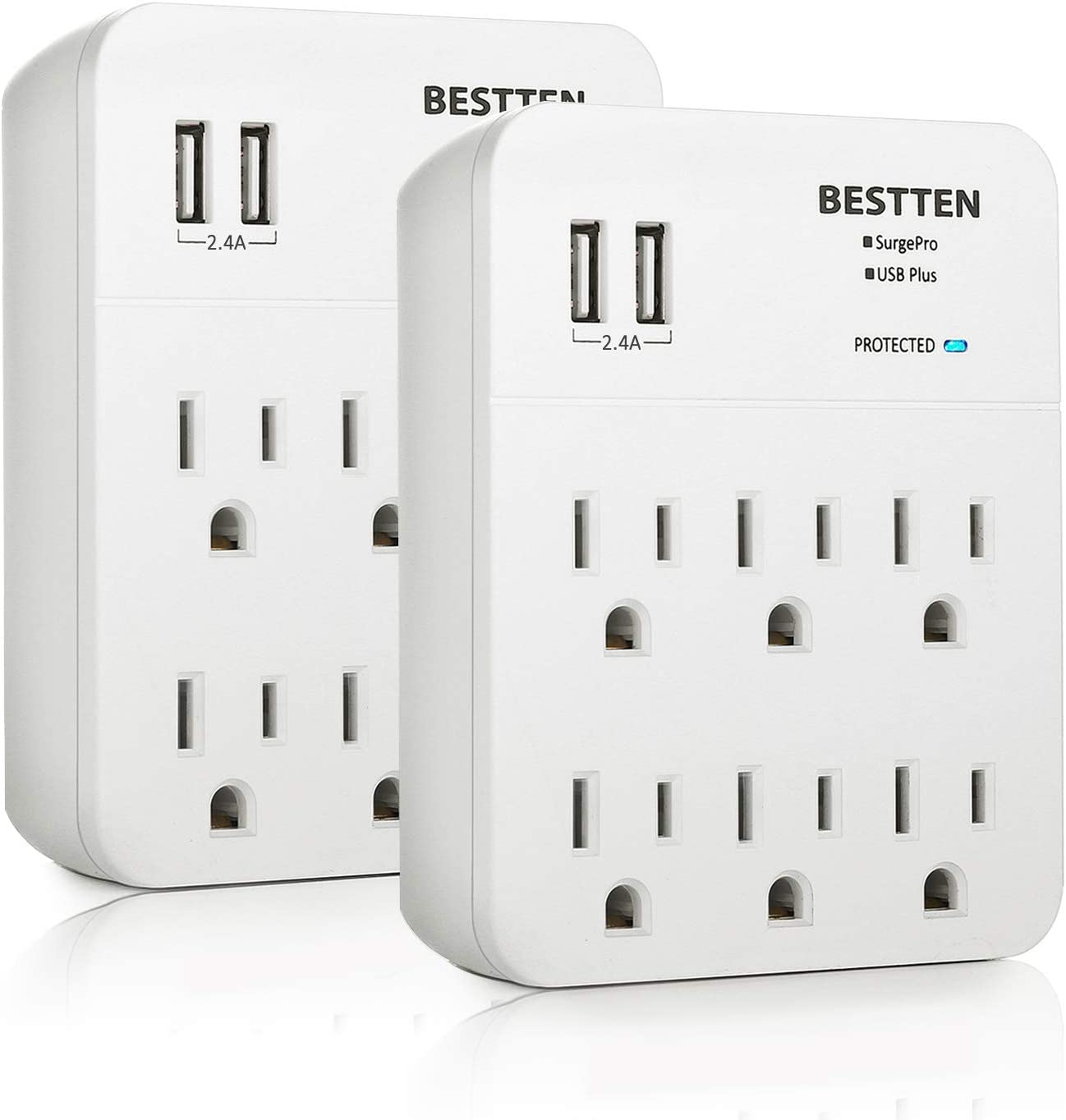 6 Outlet AC Wall Tap Dual 2 USB Ports Charger Surge Protector Socket