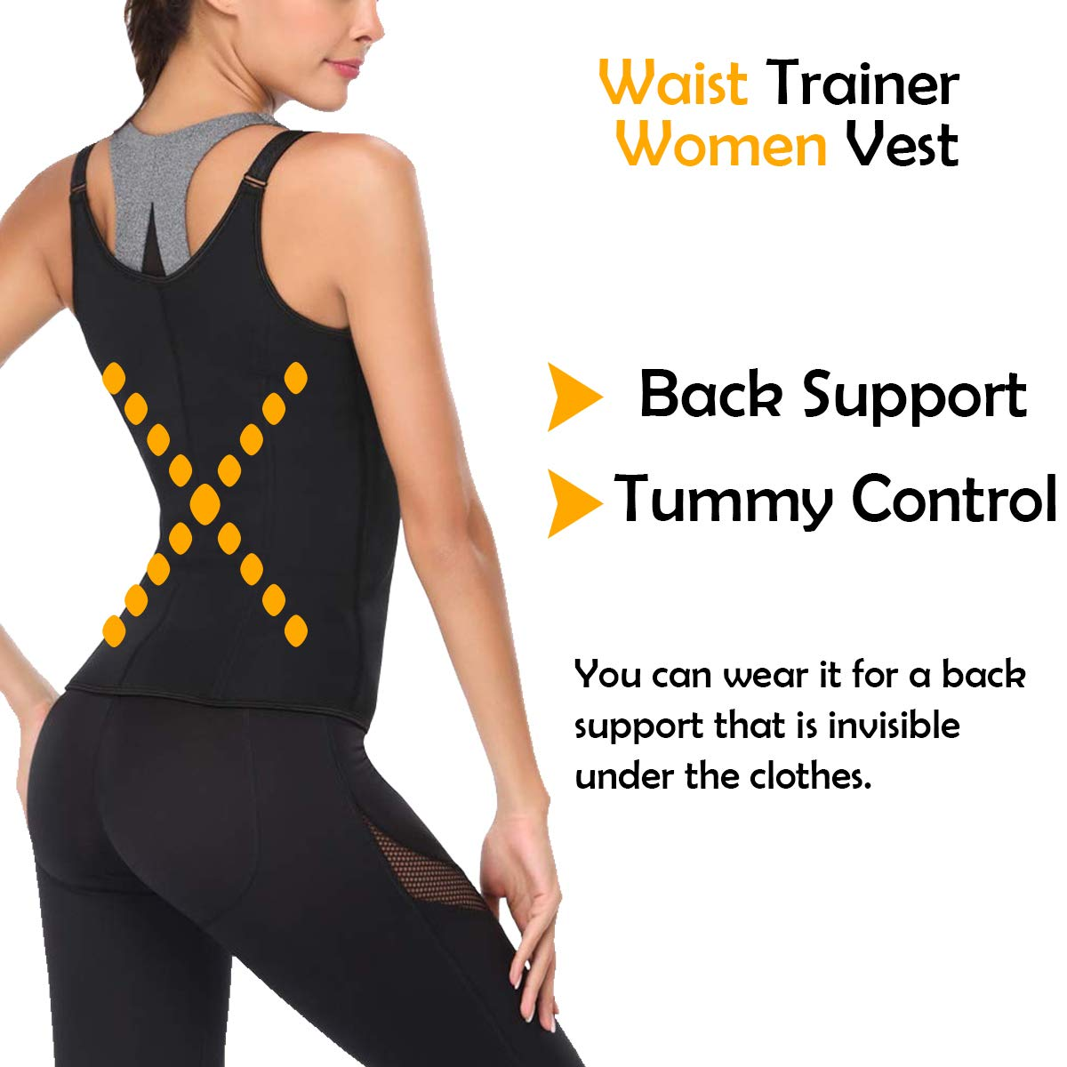 50725c14370 Amazon.com   GC Company Women Waist Trainer Vest Slim Corset Neoprene Sauna Tank  Top Zipper Weight Loss Body Shaper Shirt Woman