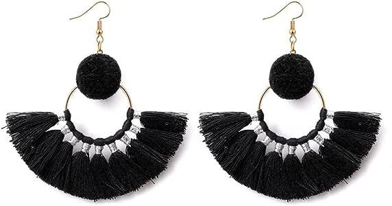 WaMLFac 1 Pair Vintage Tribal Rare Bead Coins Tassle Belly Dance Chain Boho Gypsy Hoop Dangle Earrings