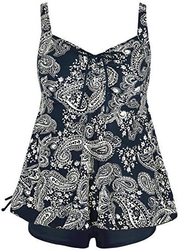 Septangle Women Plus Size Bathing Suits Paisley Print Two Piece Swimsuit