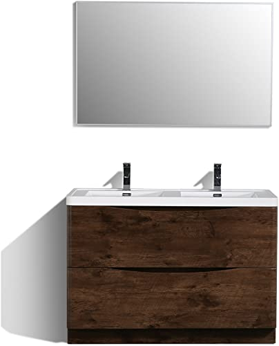 Eviva EVVN12-DS-48RSWD-FS Smile 48 inch Rosewood Freestanding Modern Double Sink White Integrated Acrylic Top Bathroom Vanitie