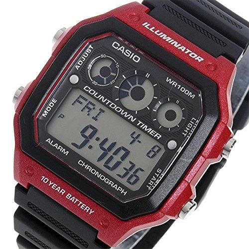 Casio Ae1300Wh-4A / 4A Ae1300Wh deporte en Digital × negro rojo niños niños! ¡Pequeña! Hombre/Unisex reloj: Amazon.es: Relojes