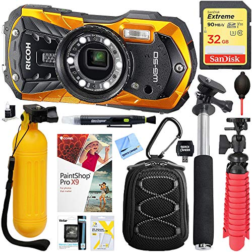 Amazon.com : Ricoh WG-50 16MP Waterproof Digital Video/Still Camera with 2.7-Inch LCD Orange (4583) + Selfie Stick + 32GB Deluxe Bundle : Camera & Photo