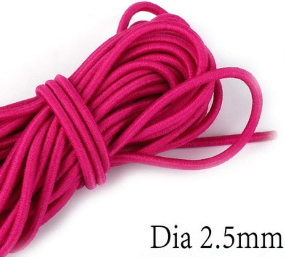 LLAAIT 2.5mm Multi Colores 5M Banda el/ástica Redonda Cuerda el/ástica Redonda Banda de Goma para la Chaqueta de la Ropa Accesorios de Costura DIY Amarillo Fluorescente