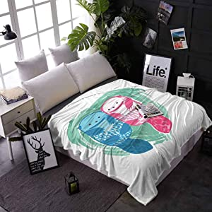 carmaxs Throw Blanket for Bed Otter Summer Blankets Twin Size for Couch Bed Sofa Cute Water Mammal Watercolor Abstract Animal Pattern Aquatic Marine Life 50 x 70 Inches Mint Green Blue Pink