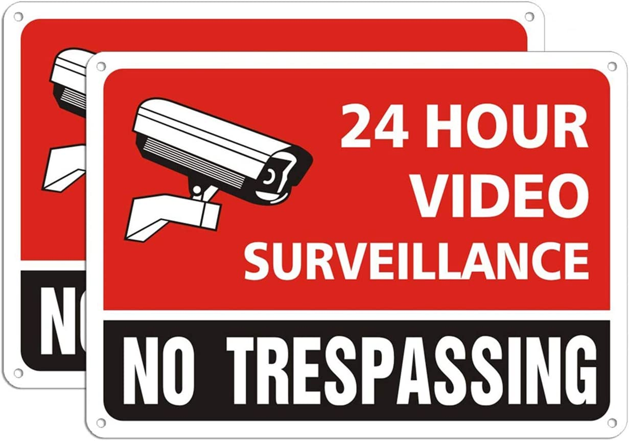 No Trespassing 24 Hour Video Surveillance Police Will Arrest Sign Metal