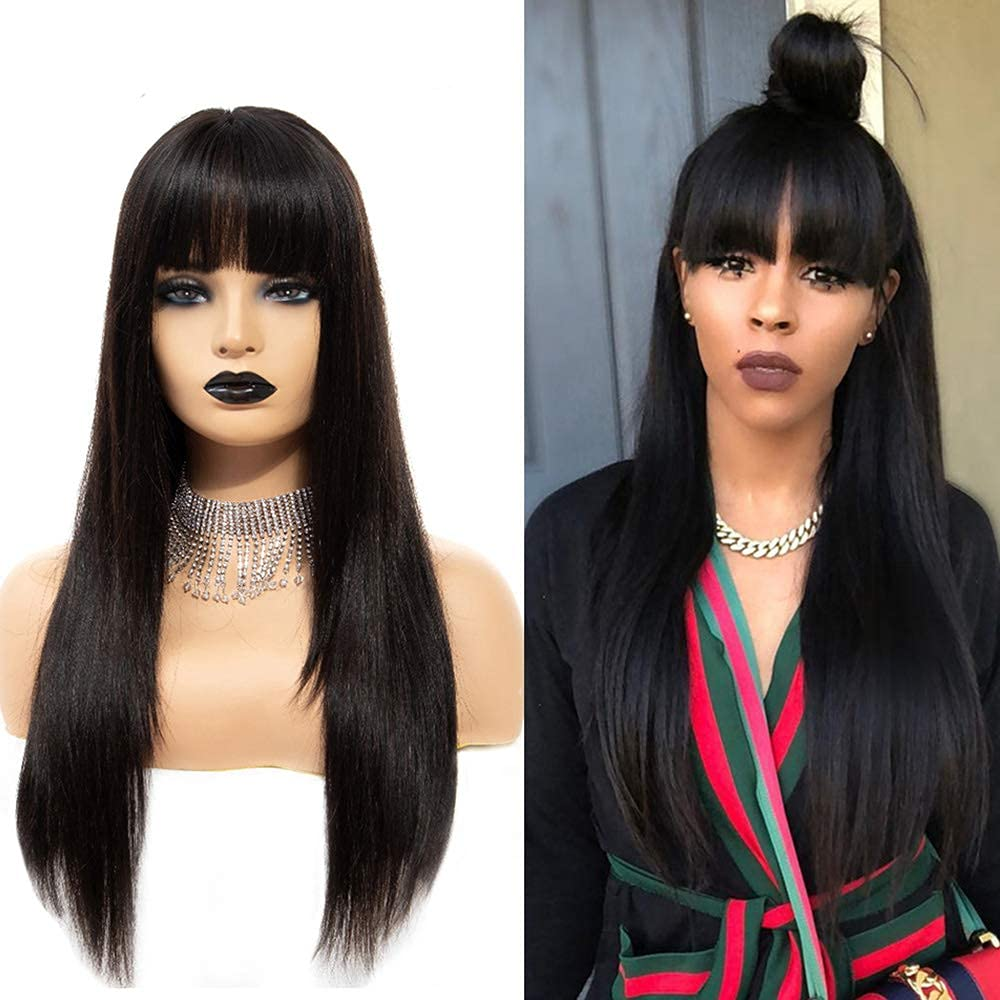 Beauty products Black Synthetic Lace Front Wig Straight Long Bangs with Mesa Mall