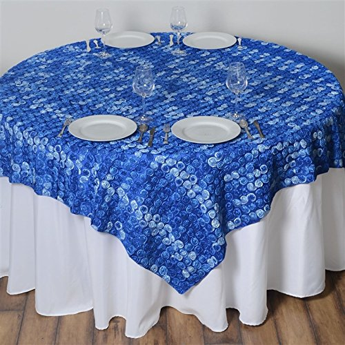 - 72 Inch X 72 Inch Triple-Tone Mini-Rosettes Table Overlays - Royal Blue Umbre
