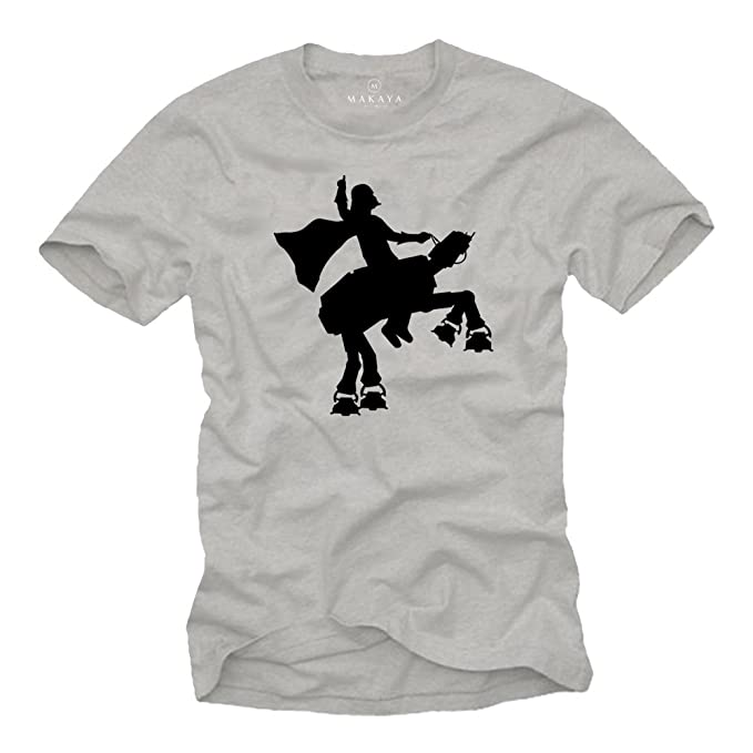 MAKAYA Camisetas Frikis Divertidas Hombre - Vader Rodeo Star - T-Shirt Gris S
