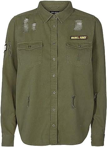 Desires Camisa Militar Khaki: Amazon.es: Ropa y accesorios