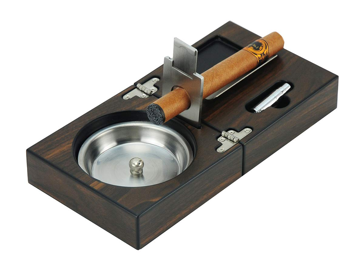 Cuban Cigar Ashtray - Foldable Walnut Wooden Metal Smokeless Cigarettes Tray Holder - Hole Puncher And Cutter - Vintage Smoking Indoor Outdoor Home Patio Office - Man Woman Gift eBook by EASY2FIND
