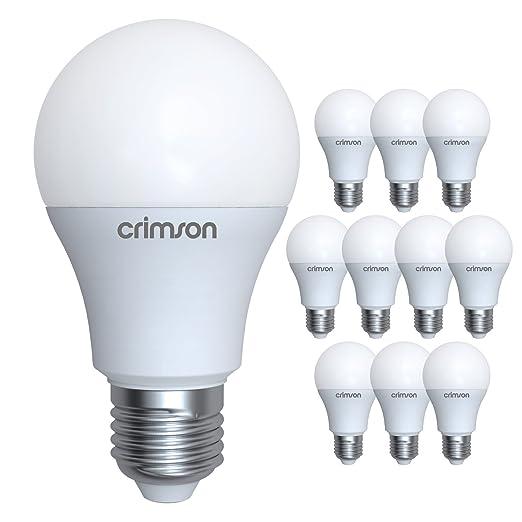 LM® E27 Rosca Edison - 10 W A60 GLS Bombilla LED Luz blanca natural 950 lm 6400K - Recambio bombillas 60-80 W - Pack de 10: Amazon.es: Iluminación