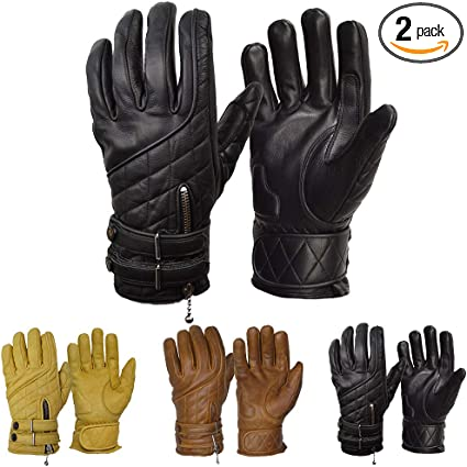 New Men's Cycling  Classic  Leather Yellow Gloves All Season Gloves S-XXL