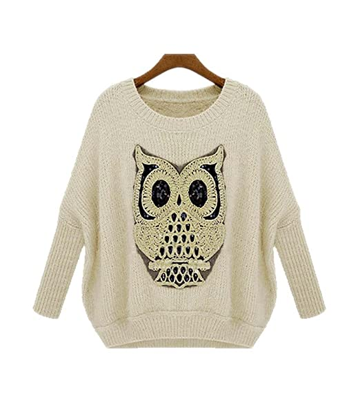 ARJOSA Women\'s Owl Pattern Crochet Cable Knit Baggy Batwing Sleeves ...