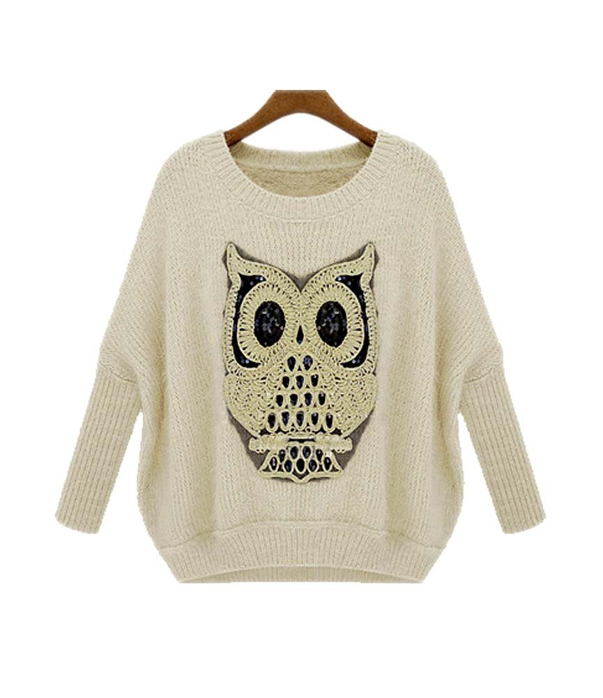 ARJOSA Women's Owl Pattern Crochet Cable Knit Baggy Batwing Sleeves Pullovers Sweaters (M, 1 White)