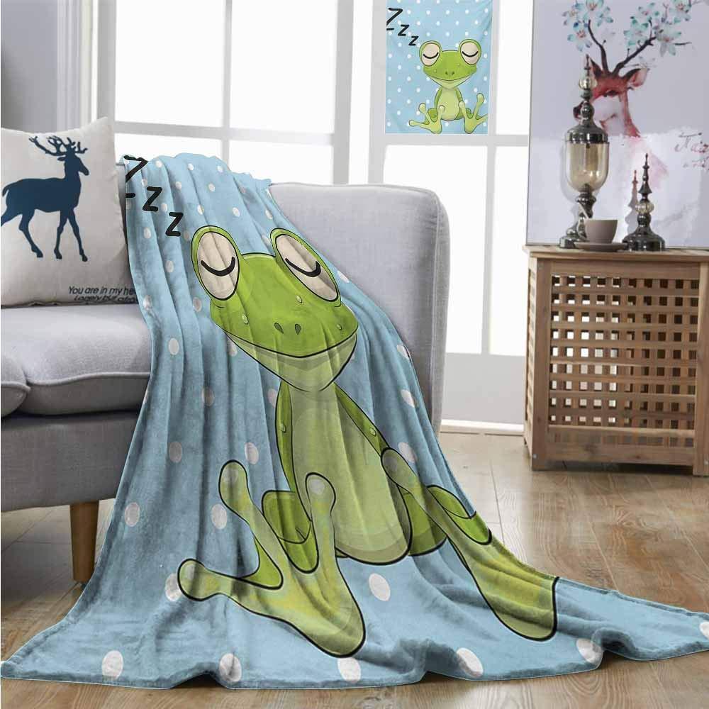 Homrkey Warm Microfiber All Season Blanket Cartoon Sleeping Prince Frog in a Cap Polka Dots Background Cute Animal World Kids Design Plush Throw W70 xL93 Green Blue