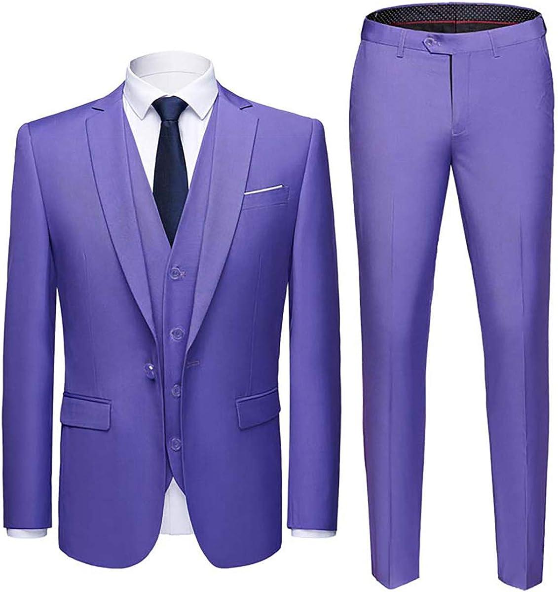Mens One Button 3-Piece Smart Wedding Formal Suit Blazer Coat Tux Vest /& Pants