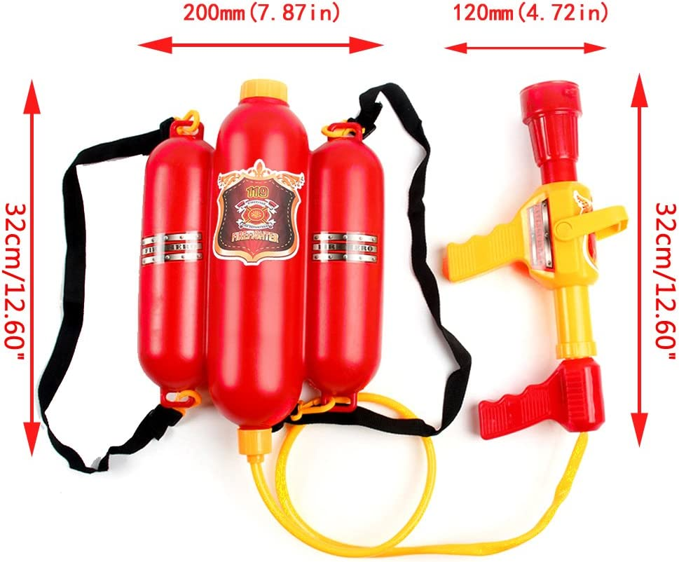 Arma de agua para niños con boquilla para mochila de bomberos, para playa, al aire libre, juguete extintor