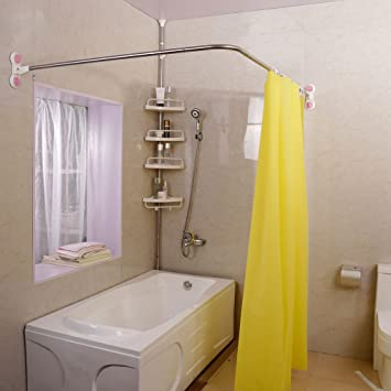 High Quality Baoyouni Curved Shower Curtain Rod Suction Cups L Shaped Corner Bath Curtain  Rail Bar Metal