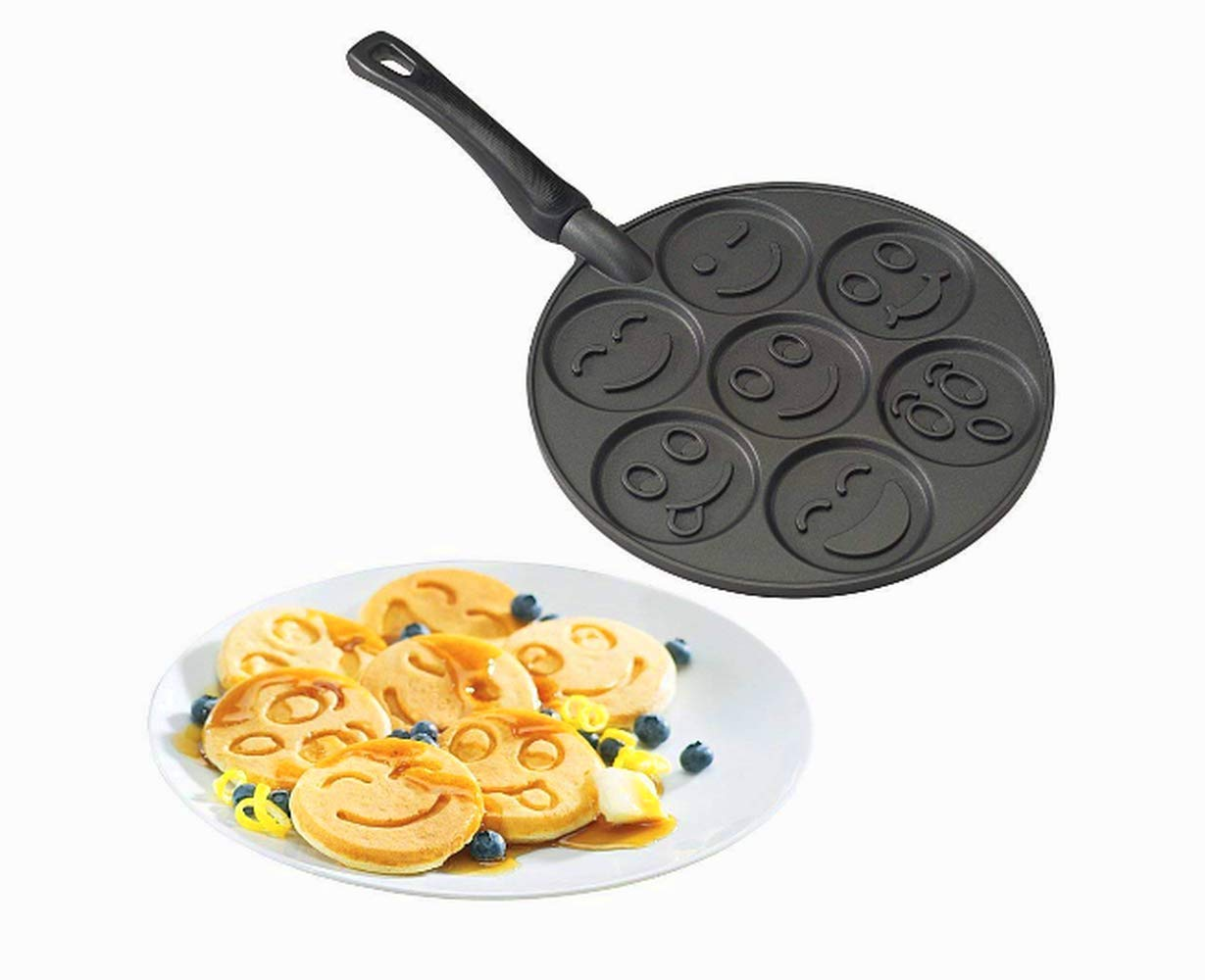 Mini Pancake Pan Non-Stick, Premium Quality, Black Color, 7 Different Emojis, Pancake For Kids, Aluminum, Smiley Faces, Breakfast Maker, Uniform-Baked Pancakes & E-Book Home Decor