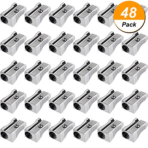 Frienda 48 Pack Metal Mini Pencil Sharpeners Silver Single Hole Aluminum Alloy Handheld Sharpener Manual Pocket Pencil Sharpeners for Standard Size (Single Hole Sharpener)