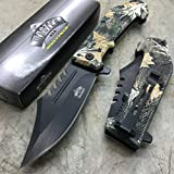 Master USA MU-A042BC Spring Assist Folding Knife, Black Straight Edge Blade, Camo Handle, 4.75-Inch Closed For Sale