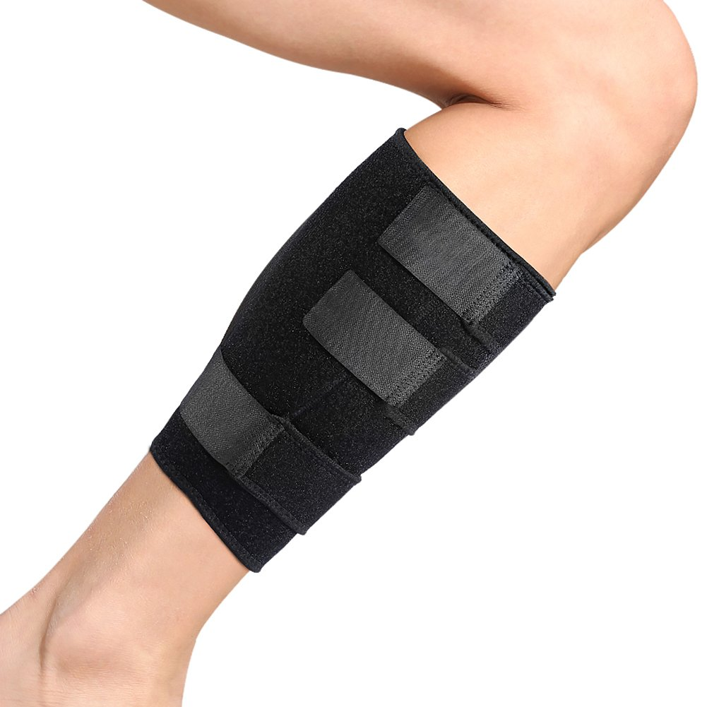 Calf Brace Adjustable Shin Splint Support Sleeve Leg Compression Wrap for Pulled Calf Muscle Pain Strain Injury, Swelling, Fits Men and Women, Black