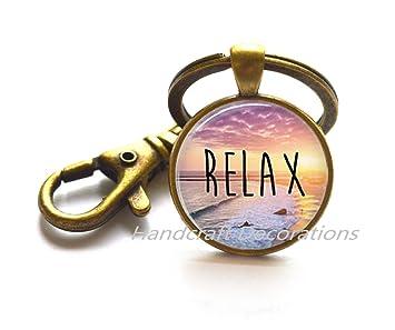 Relax - Llavero de cúpula de cristal náutico, llavero de ...