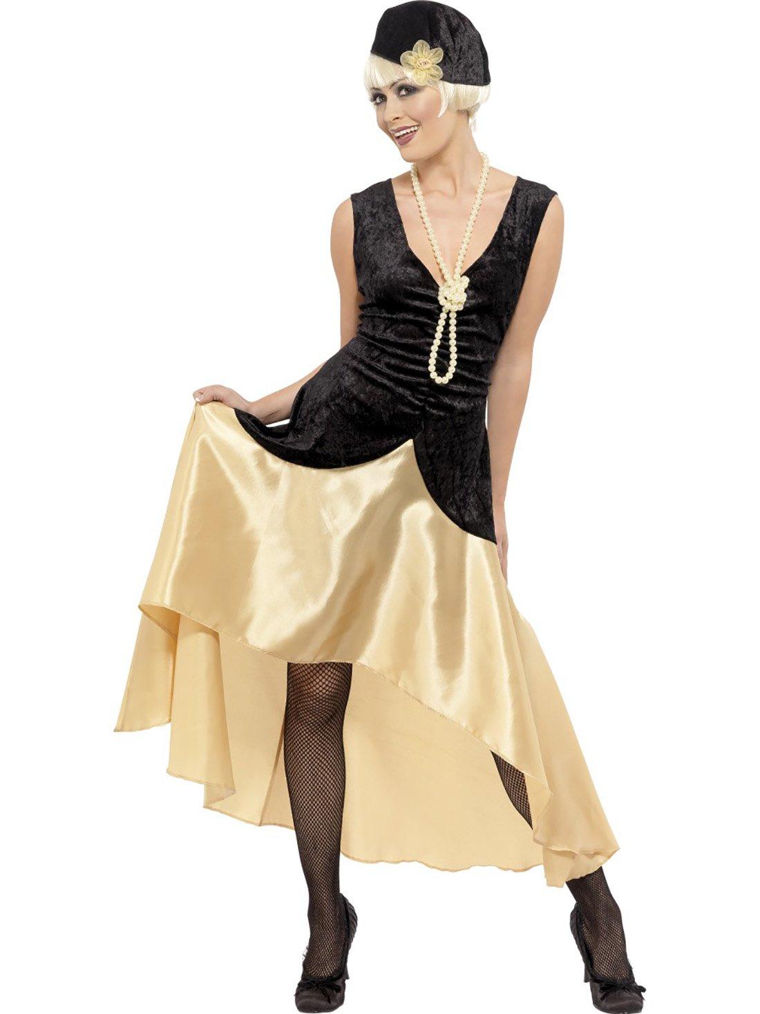 Zauberclown Elegantes mehrfarbiges Kostüm im 20er Jahre Stil für Damen, XL, Mehrfarbig