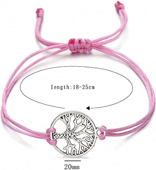 Womens Bracelet Newest Silver Color Life Tree Charm Bracelets for Women Men Kids Simple Red String Braided Bracelet Couple DIY Jewelry Gift