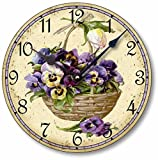 Item C6019 Shabby Victorian Style 10.5 Inch Pansies Clock For Sale