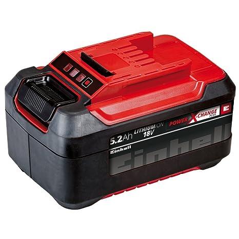 Einhell Power X-Change Plus -Batería de repuesto, tiempo de carga 80 min, 5.2 Ah, 18 V, color negro y rojo (ref. 4511437)