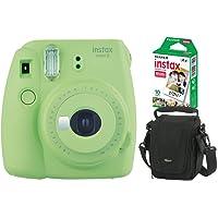 Kit Câmera Instantânea Instax Mini 9 Verde Lima + Filme Instax Mini 10 fotos + Bolsa Lowepro Preta