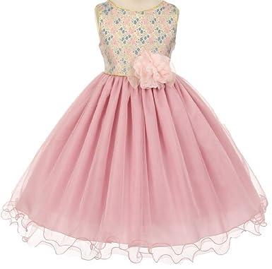 ab24297a3140 Amazon.com: Little Girls Lovely Jacquard Bodice Flowers Girls ...
