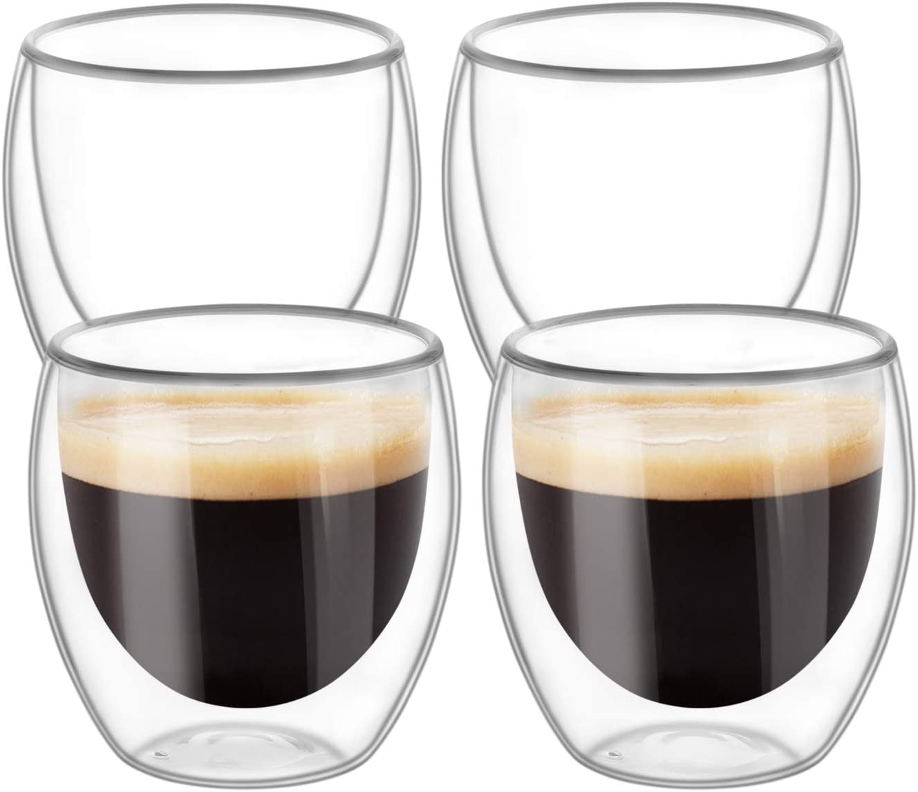 KTMAMA Double Wall Glass Coffee Mugs Set of 4 (8oz/250ml), Glass Cups for Hot Beverages,Thermal Insulated Borosilicate Glass Cups for Tea, Coffee, Latte, Cappuccino