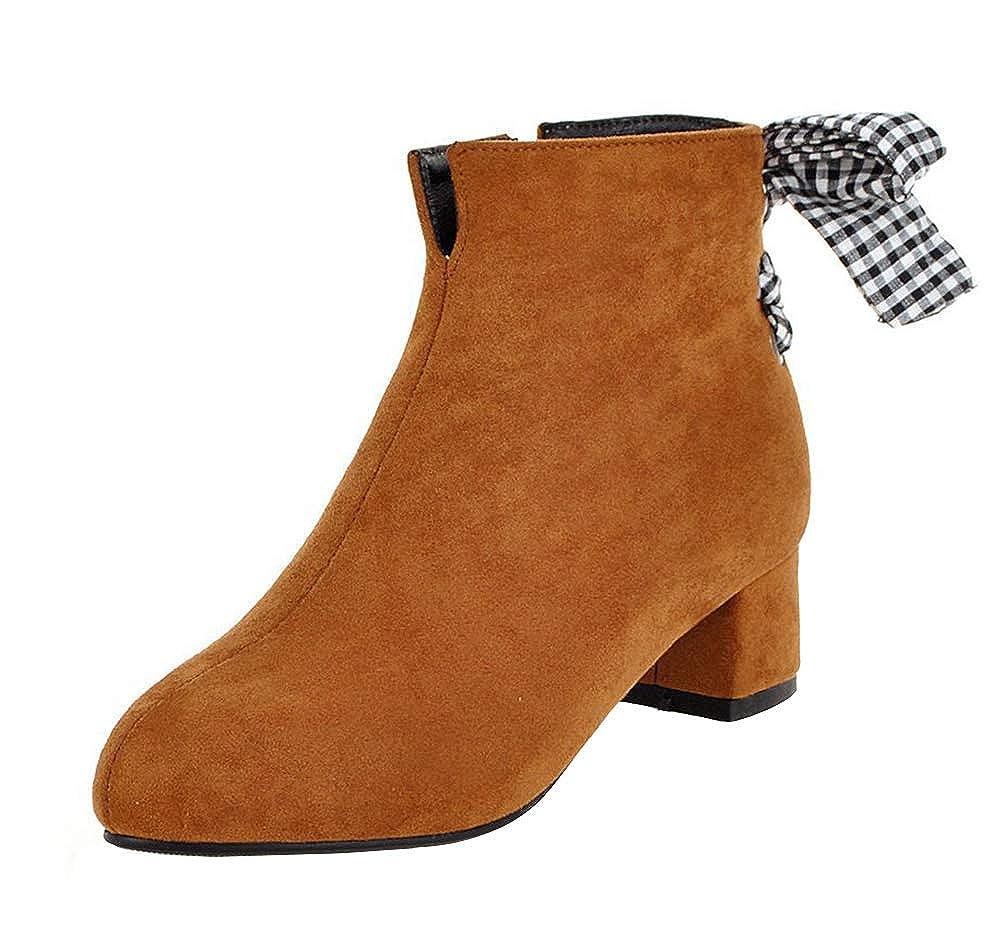 SHOWHOW Damen Elegant Nubuk Schleife Ankle Stiefel Kurzschaft Stiefeletten Mit Mit Mit Absatz 7066b5