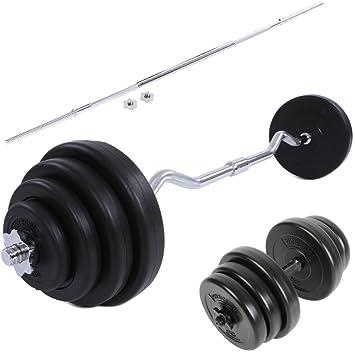 Physionics - Juego completo para entrenamiento (pesas con barra curva, barra corta y barra larga): Amazon.es: Deportes y aire libre