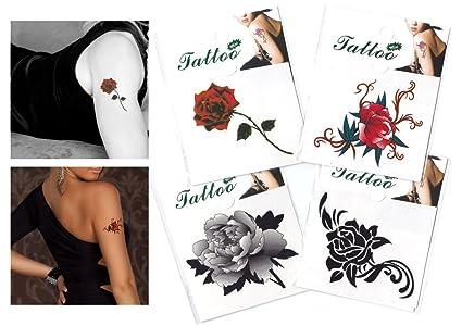 Amazon.com: Mezclar Rosa/Flor Tatuaje Temporal/Mini Rosa ...