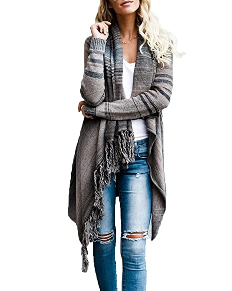 f54090f2764 FISACE Women Elegant Aztec Stripes Fall Tassels Slash Hem Cardigan Loose  Sweater Poncho