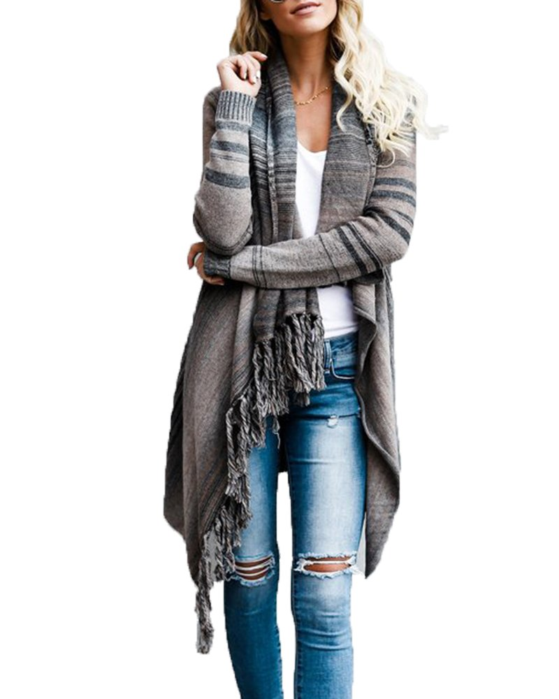 Dellytop Womens Long Sleeve Cardigans Single Button Tassel Asymmetrical Hem Shawl Coat