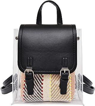 US Womens Transparent Clear Shoulder Satchel Tote School Bag Handbag Backpack