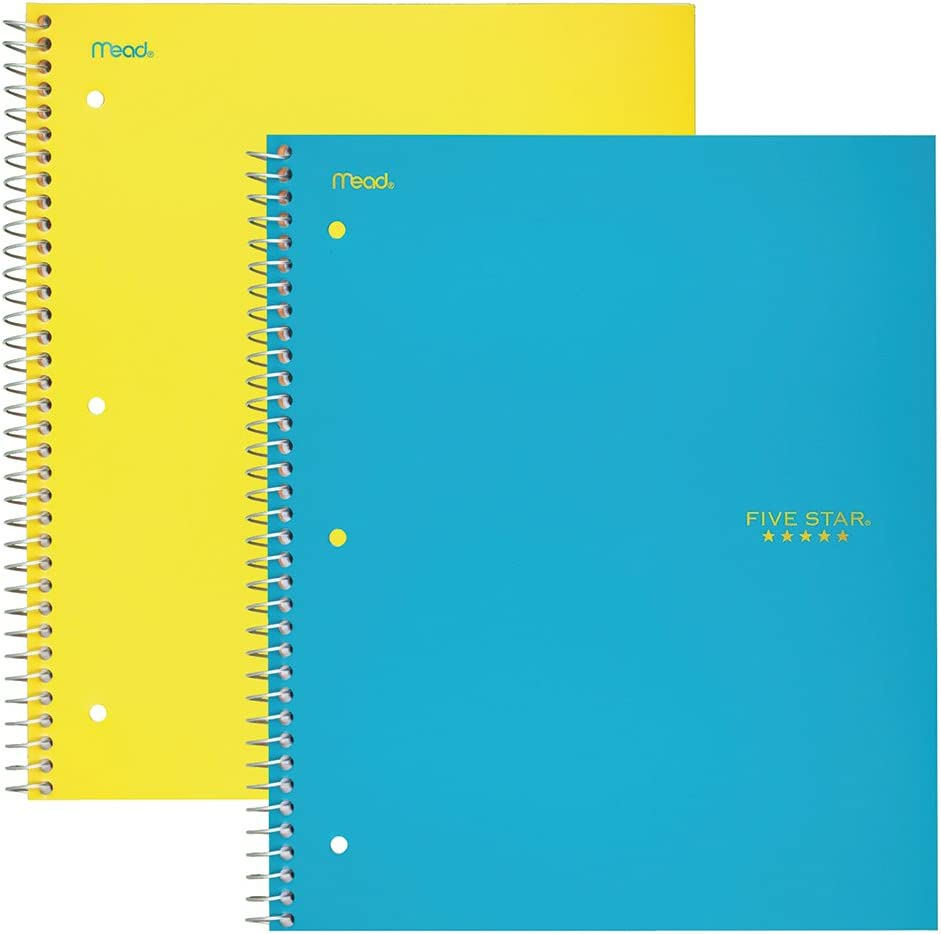 """Five Star Spiral Notebooks, 1 Subject, Wide Ruled Paper, 100 Sheets, 10-1/2"""" x 8"""", Yellow, Teal, 2 Pack (38424)"""