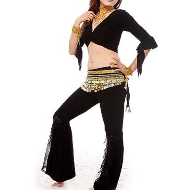 BellyLady Practicar Traje de Danza del Vientre egipcio Negro ...