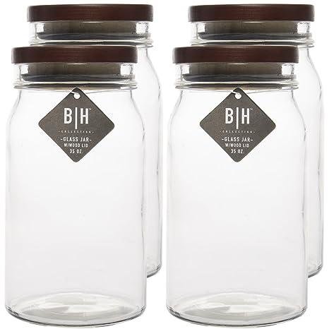 Amazoncom Blue Harbor 4 Pack 35oz Clear Glass Storage Jars With